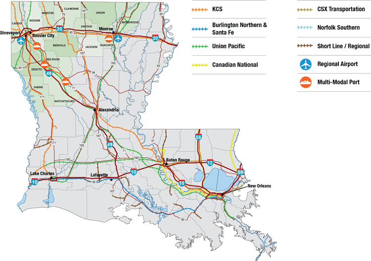 Louisiana Traffic Map.Nlep North Louisiana Competitive Advantages