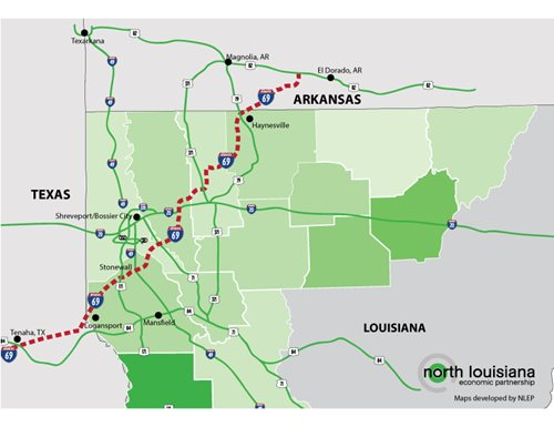 I69 Arkansas Map.Nlep North Louisiana Competitive Advantages
