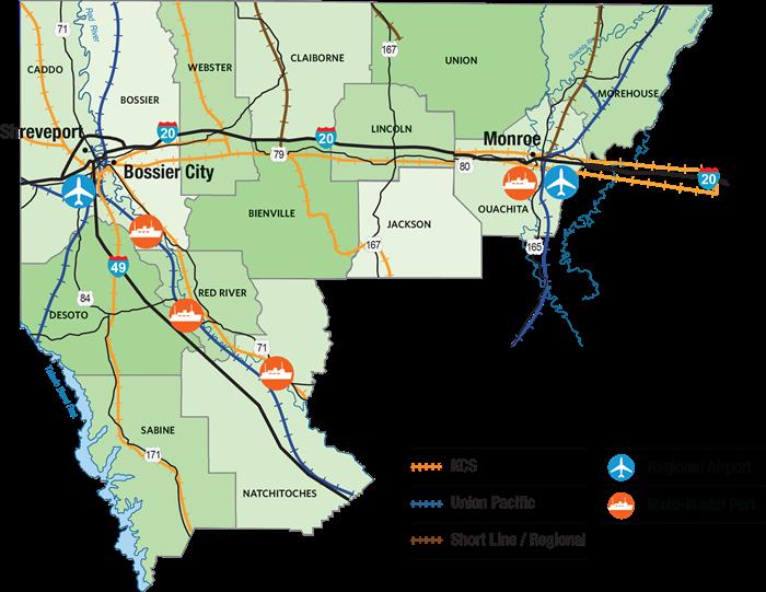 NLEP North Louisiana Economic Partnership Regional Data - Map of north louisiana